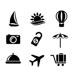 set travel and tourism icons vector image