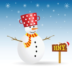 Snowman with red hat and wooden sign vector