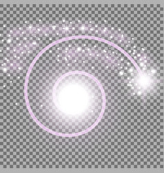 Spiral with particle dust purple color vector