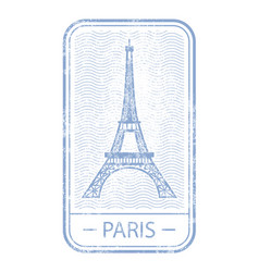 stamp with symbol of paris - eiffel tower france vector image
