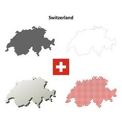 Switzerland outline map set vector
