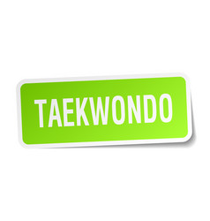 taekwondo square sticker on white vector image