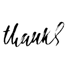 Thanks handwritten inscription hand drawn vector