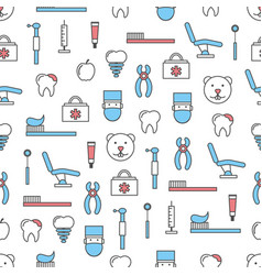 thin line art dentist seamless pattern vector image
