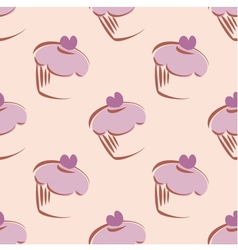 Tile cupcakes pattern vector image