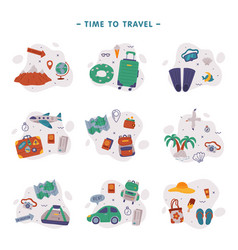 time to travel traveler accessories set summer vector image