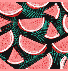 Watermelon and tropical leaves seamless pattern vector