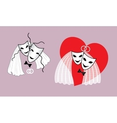 Wedding mask the bride and groom with a heart vector
