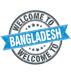 welcome to Bangladesh blue round vintage stamp vector image