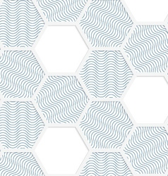White 3D with colors hexagonal grid with blue vector