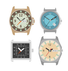 wrist watch icons set of mechanical clock vector image