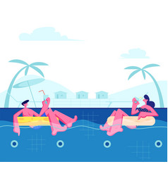 young happy couple relaxing on resort vector image