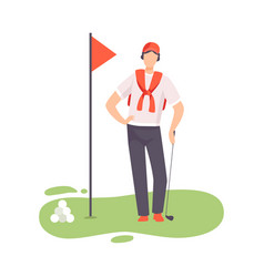 young man standing with golf club male golfer vector image