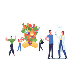 Young men and women characters apply nutritional vector