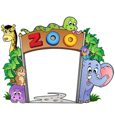Zoo entrance with various animals vector