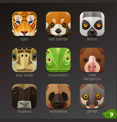 animal faces for app icons-set 9 vector image