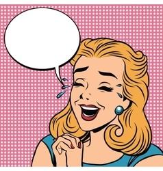Emoji retro laughter joy joke girl emoticons vector image vector image