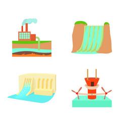 hydropower icon set cartoon style vector image