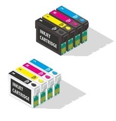 Ink jet cartridges isometric icon vector