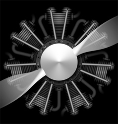 Radial airplane engine with propeller vector image vector image