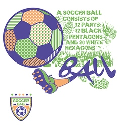 Soccer ball print for kids and badge set vector
