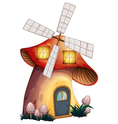 A mushroom house with a windmill vector image
