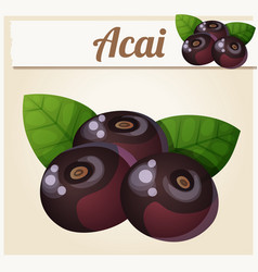 Acai berries cartoon icon vector