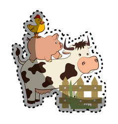animal farm in field vector image