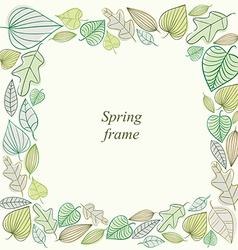 Spring frame made of leaves vector image vector image