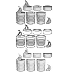 Canned Food Cans Pack vector image vector image