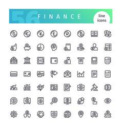 finance line icons set vector image