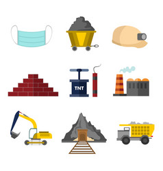 flat style mining related graphic set vector image vector image