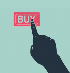 hand pushing buy button vector image vector image