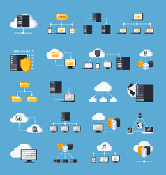 hosting services icons set vector image vector image