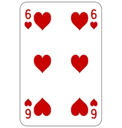 Poker playing card 6 heart vector