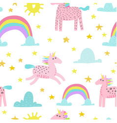 seamless pattern with magic unicorns vector image