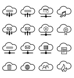 set with cloud icons simple cloud pictograms on a vector image vector image