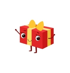 Square gift box with yellow bow kids birthday vector