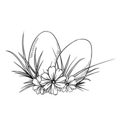 two easter eggs in sketch style vector image vector image