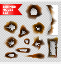 Burnt holes scorched paper isolated set on vector
