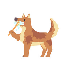 cute cartoon dog brushing teeth with tooth brush vector image