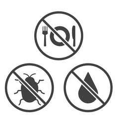 do not eat bug and wet icons vector image vector image