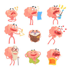 humanized brain cartoon character with arms and vector image