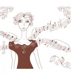 music retro girl background vector image