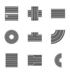 road constructor icons set cartoon style vector image vector image