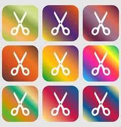 Scissors icon sign Nine buttons with bright vector image