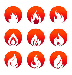 white flat fire icons in fire rounds design vector image vector image