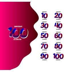 100 year anniversary celebration set logo vector