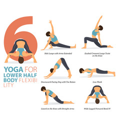 6 yoga poses for lower body flexibility concept vector