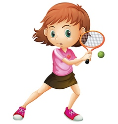 A young girl playing tennis vector image